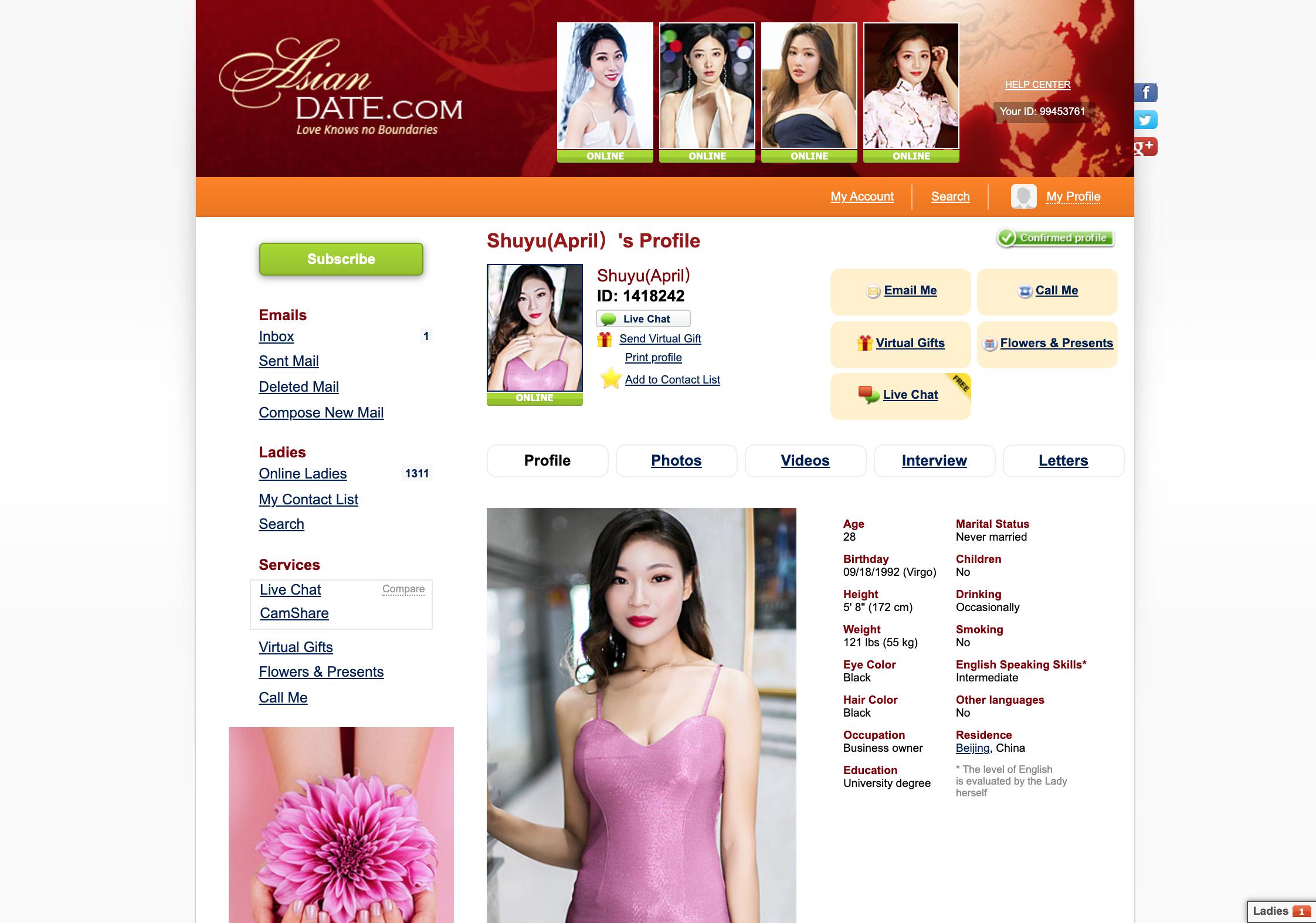 AsianDate cover letter