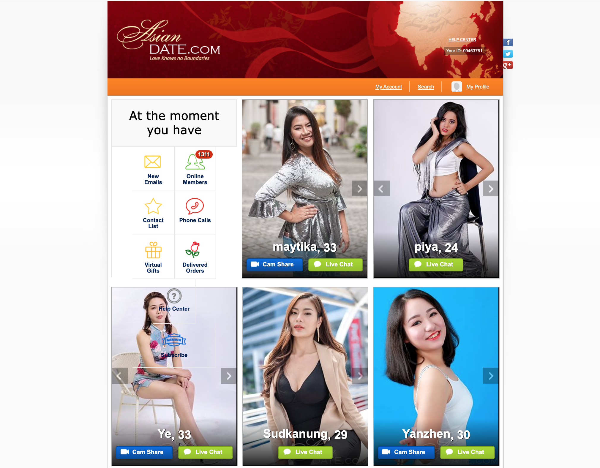 AsianDate home page