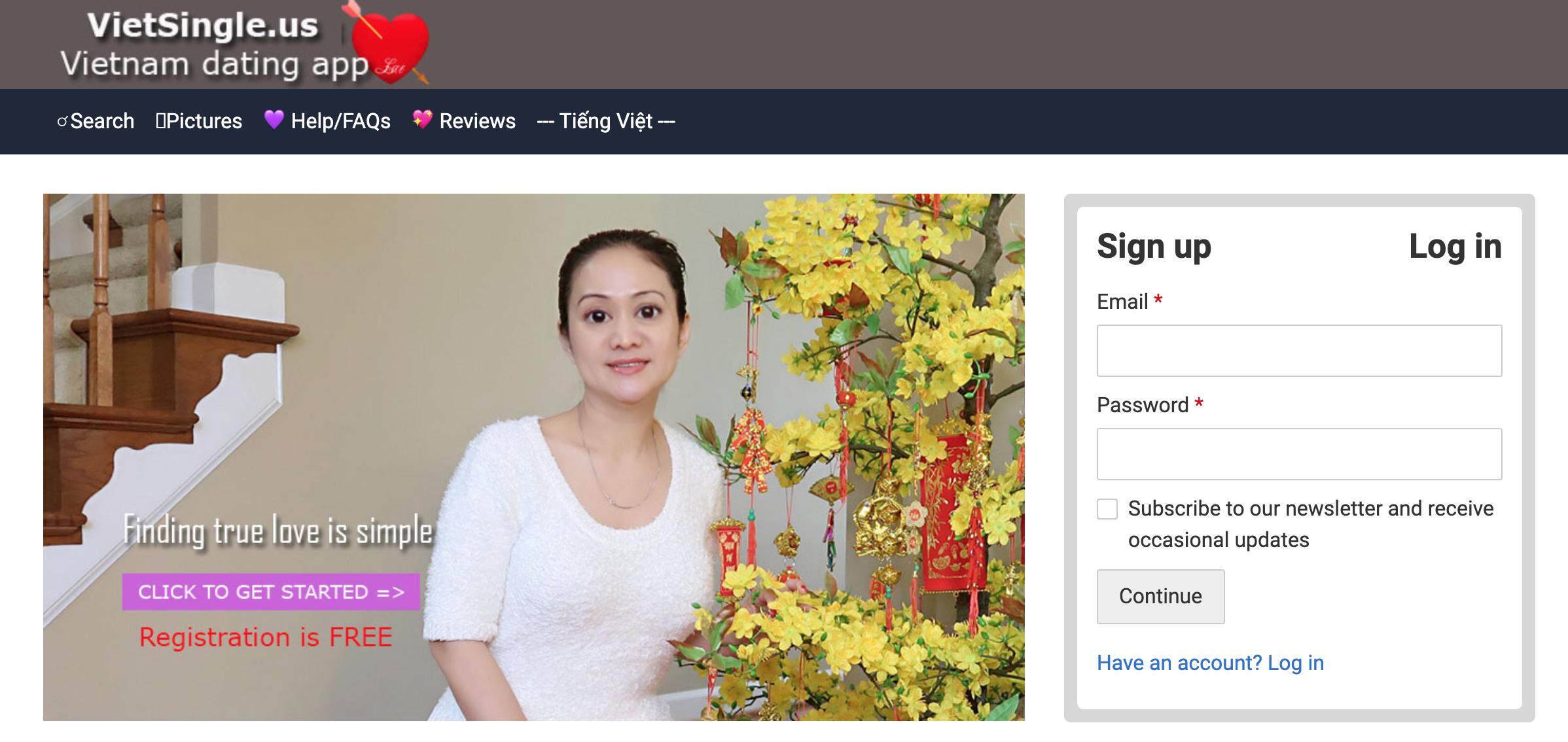 VietSingle.us main page