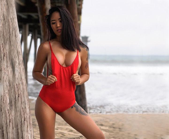 asian woman in swimmsuit